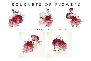 Bouquets of flowers (VECTOR)