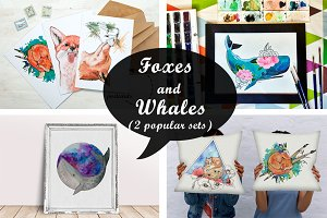 Foxes & Whales (2 watercolor sets)