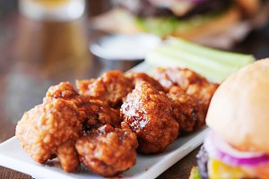 bbq chicken wings and burgers