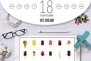 Ice cream icon set, flat style