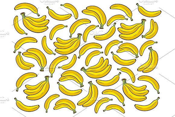 Banana background cartoon vector illustration