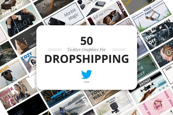 Social Media Templates: Web Donut - 50 Twitter Dropshipping Graphics