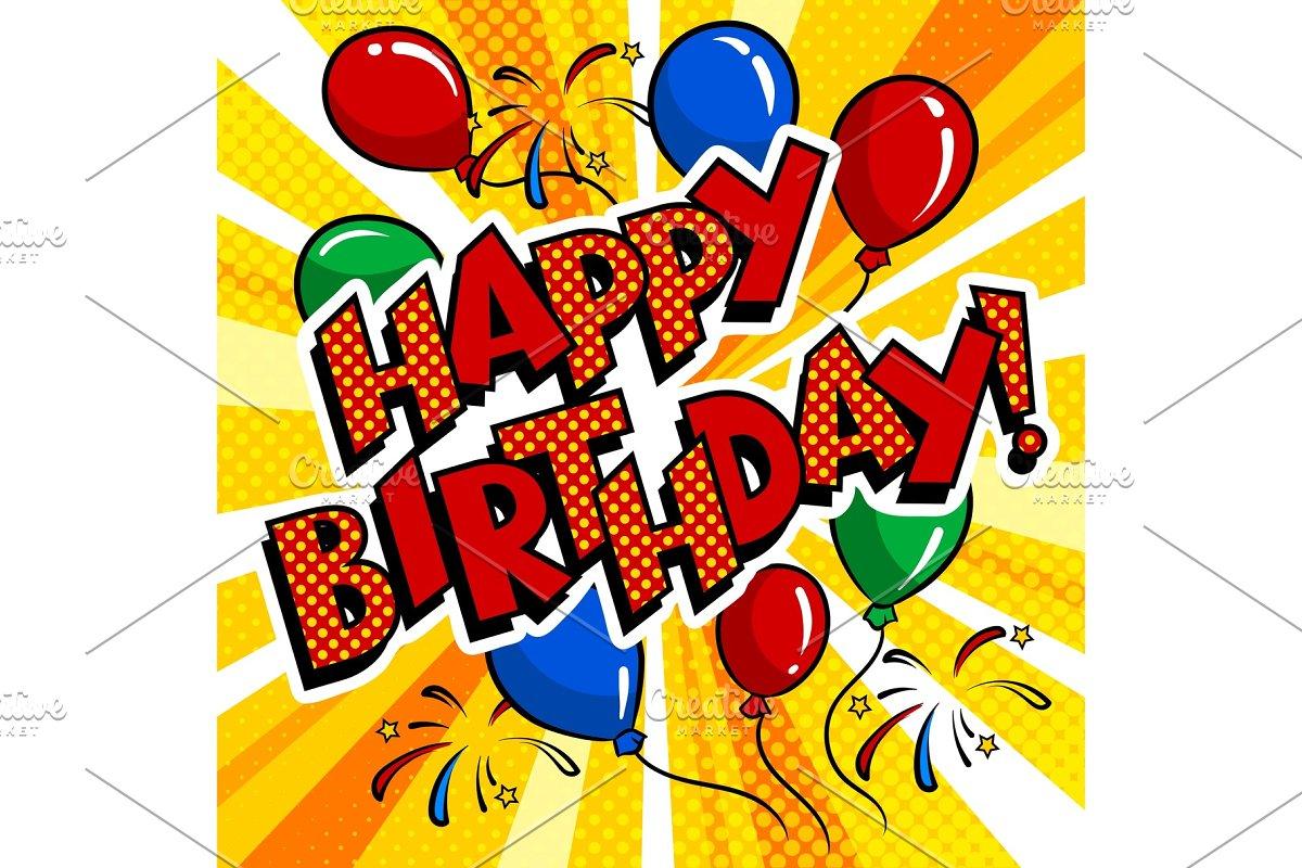 Happy birthday word comic book pop art vector in Illustrations