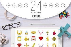 Jewerly icon set, flat style