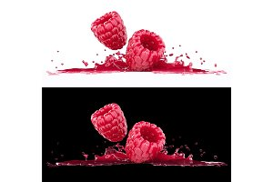 Raspberry berries in splash of juice