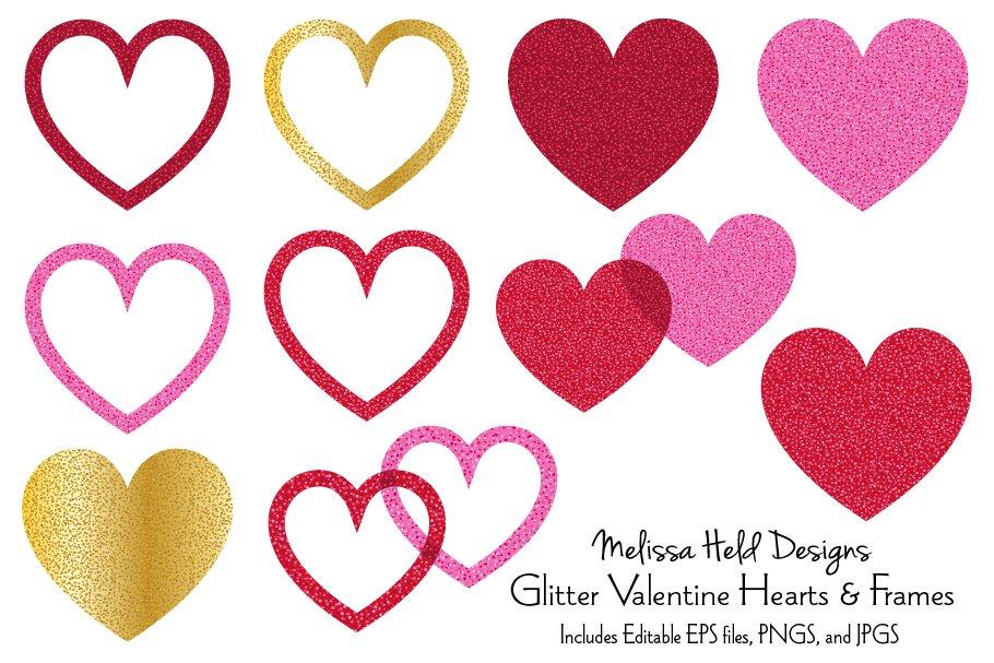 Glitter Valentine Hearts and Frames ~ Icons ~ Creative Market