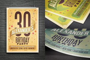Retro Birthday Flyer/Poster/Ad