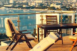 Outdoor Balcony With Garden Furnitur
