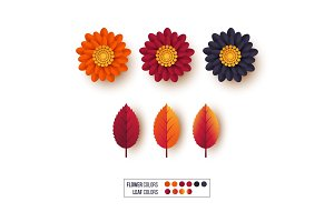 Set of 3d autumn leaves with flowers. Decorative elements for autumnal greeting cards, backgrounds. Orange, burgundy, violet colors. Isolated on white, vector illustration.