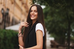 portrait of beautiful brunette with long hair