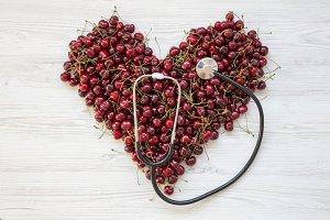 Sweet cherries in heart shape