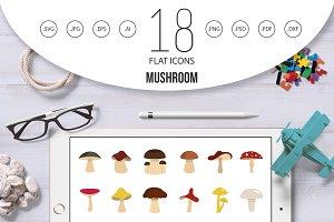 Mushroom icon set, flat style