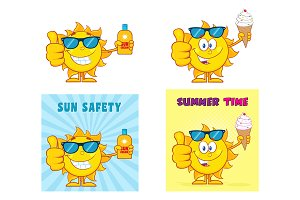 Sun Cartoon Character. Collection 3