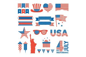 Usa independence day. Design elements for various cards, logos and banners of 4 july