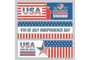Web banners of USA independence day. Vector design template of horizontal banners with Americans identity symbols