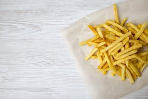 From above, tasty french fries.