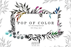 Pop of color- watercolor leaves clip