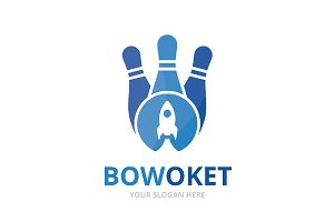 Vector bowling and rocket logo