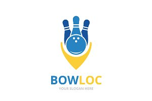Vector bowling and map pointer logo