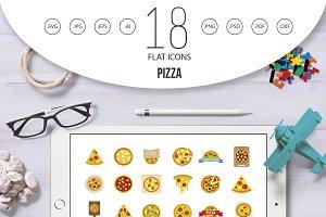 Pizza icon set, flat style