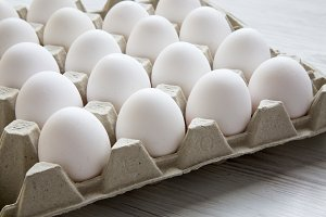 Chicken eggs in carton egg box