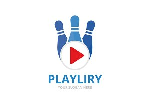 Vector bowling and play button logo