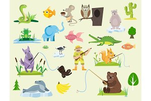 Snake character wildlife nature viper mouse owl frog flat python man character venom predator animal vector illustration.
