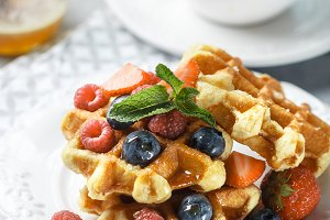 Fresh homemade waffles