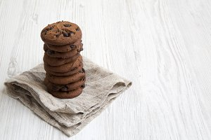 Chocolate cookies on a white wooden
