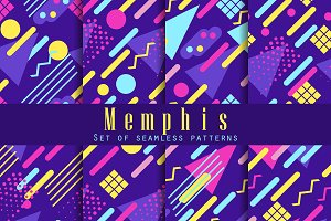 Seamless geometric patterns 80's