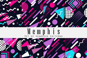 Memphis seamless patte style of 80's