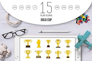 Gold cup icon set, flat style