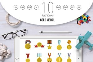 Gold medal icon set, flat style