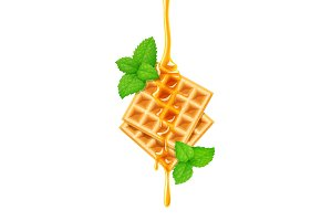 Belgian Waffle, honey and peppermint.
