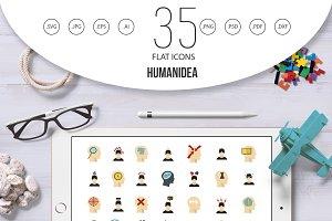 Human idea icon set, flat style
