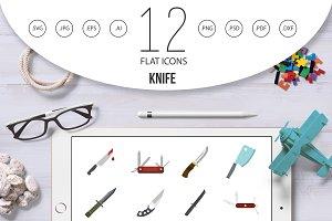 Knife icon set, flat style