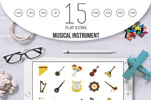 Musical instrument icon set, flat