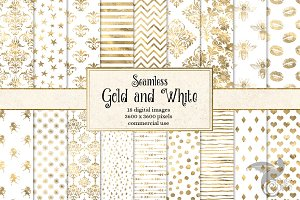 Gold and White Digital Paper