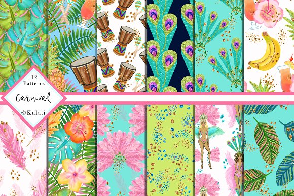 carnival digital papers patterns graphic patterns creative market