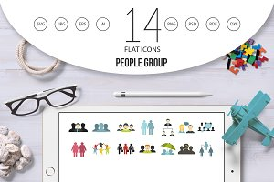 People group icon set, flat style