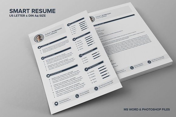 the smart cv resume julian resume templates creative market