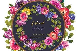 Colorful Floral Wreath & Plaque