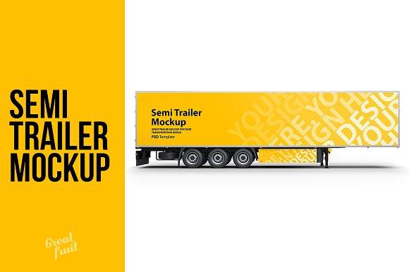Download Truck Semi Trailer PSD Mockup
