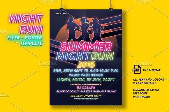 night run event flyer poster flyer templates creative market
