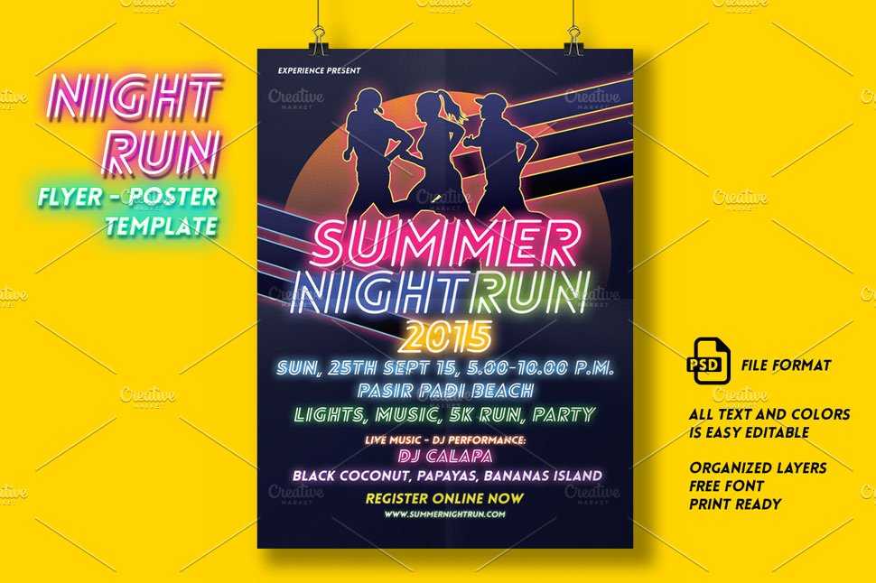 Night Run Event Flyer Poster Flyer Templates Creative Market