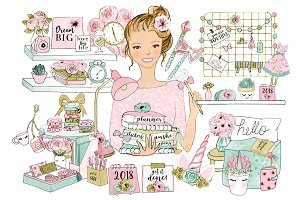 Planner Set Pink and Green