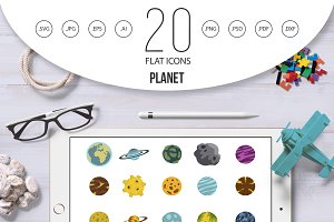Planet icon set, flat style