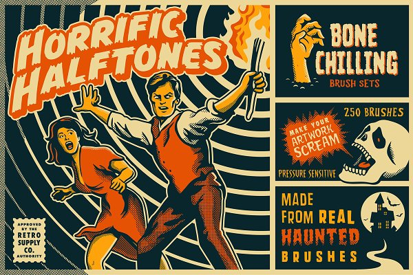 Add-Ons: RetroSupply Co. - Horrific Halftones Photoshop Brushes