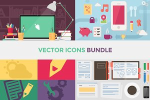 90+ Vector Flat Icons Bundle