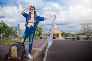 tourist girl's standing on street